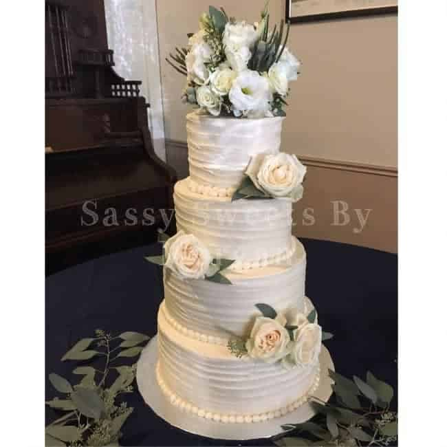 This Was My Very 1st 4 Tier Wedding Cake The Top 2 Tiers Are Lemon With Vanilla Ercream 3rd Is A Chocolate Fudgy And
