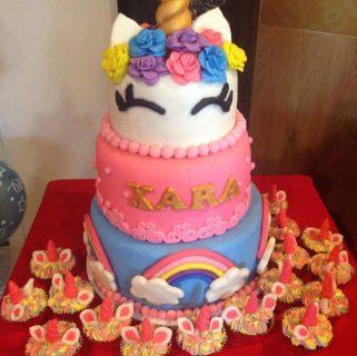 Unicorn and rainbows cake