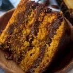 Pumpkin Cake with Chocolate Pecan Filling