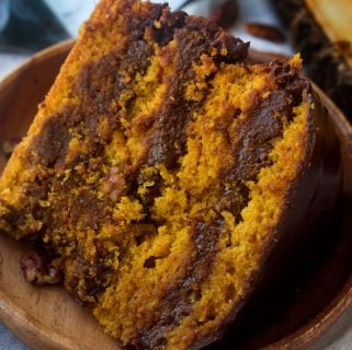 Pumpkin Cake with Chocolate Pecan Filling