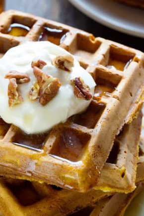 Simple, homemade, delicious Pumpkin Waffles! #waffles #pumpkinwaffles #breakfast #iambaker