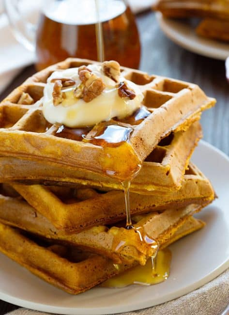 The last ingredient is what makes these AMAZING!! #waffles #pumpkinwaffles #iambaker #breakfast