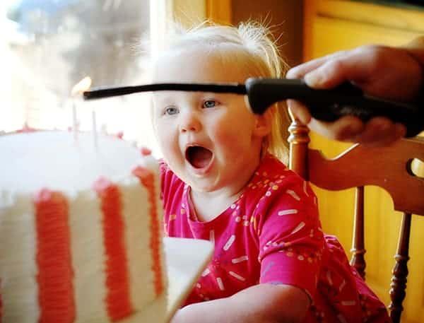 Olivia getting her birthday cake!