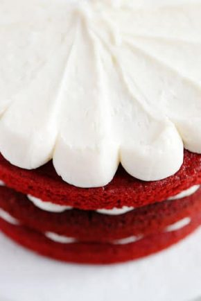 Obsessed with the EXTRA rich cream cheese frosting on a red velvet cake!