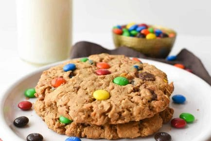 Giant Monster Cookies with M&Ms