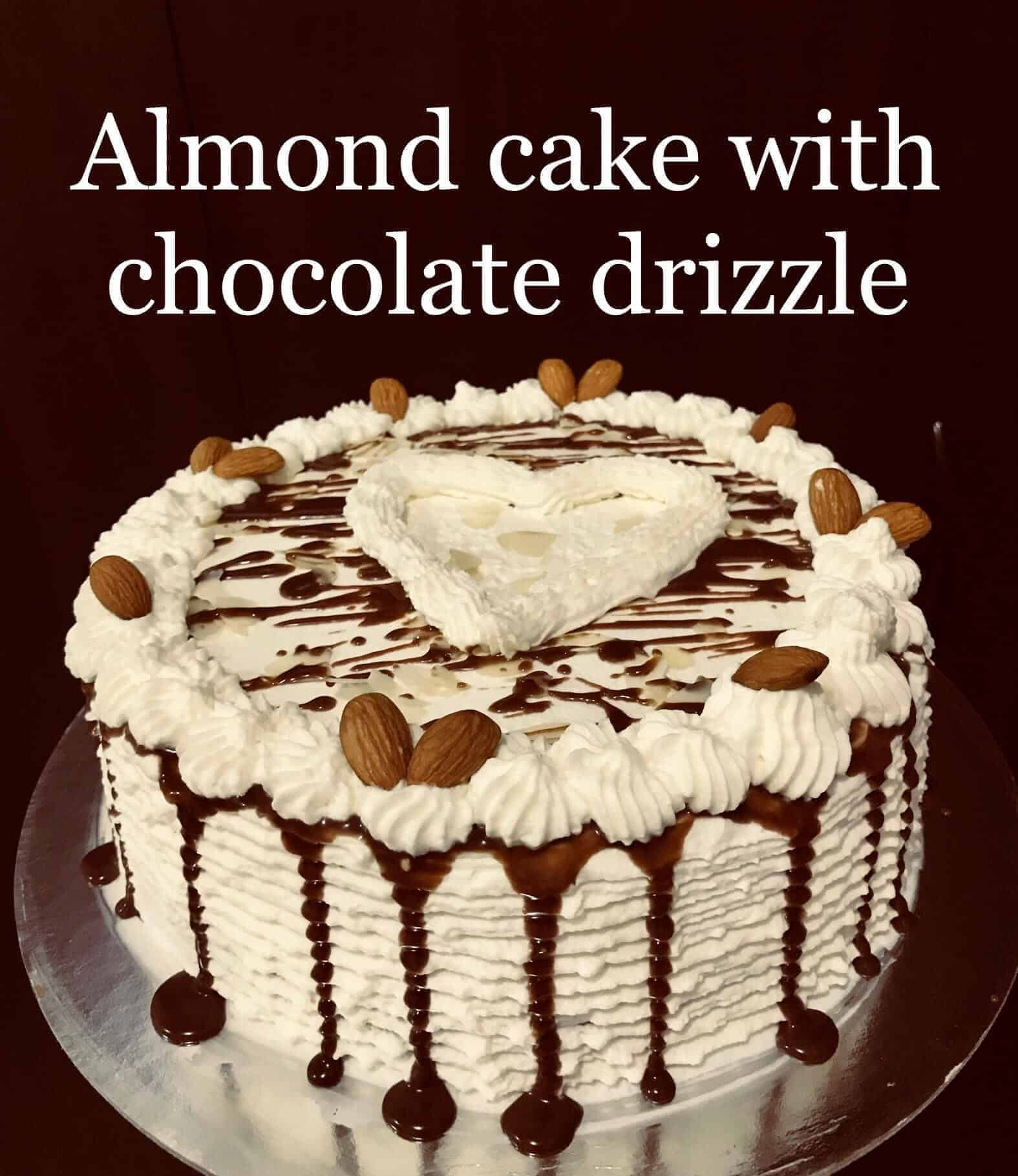 Almond Cake With Chocolate Drizzle I Am Baker