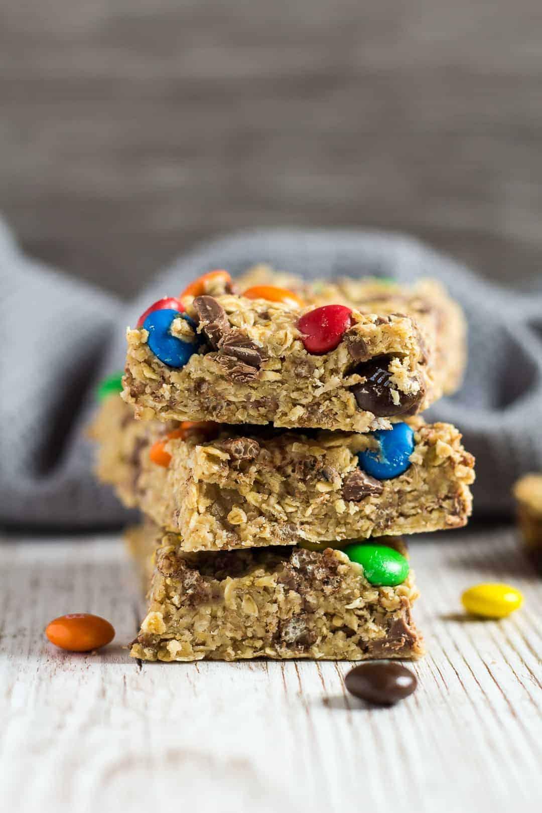 No Bake Peanut Butter M Amp M Granola Bars I Am Baker