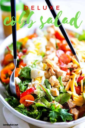 Create a healthy eating habit with this Healthy Cobb Salad. Deluxe Cobb Salad is not just a salad, it is fulfilling meal! This recipe is colorful, flavorful and 100% satisfying! Serve it for family dinner! #salad #healthy