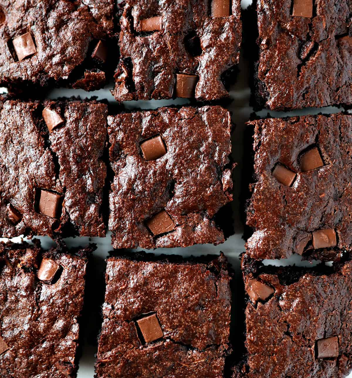 Eggless Brownies Zucchini Brownie From Overhead Showing Top Texture