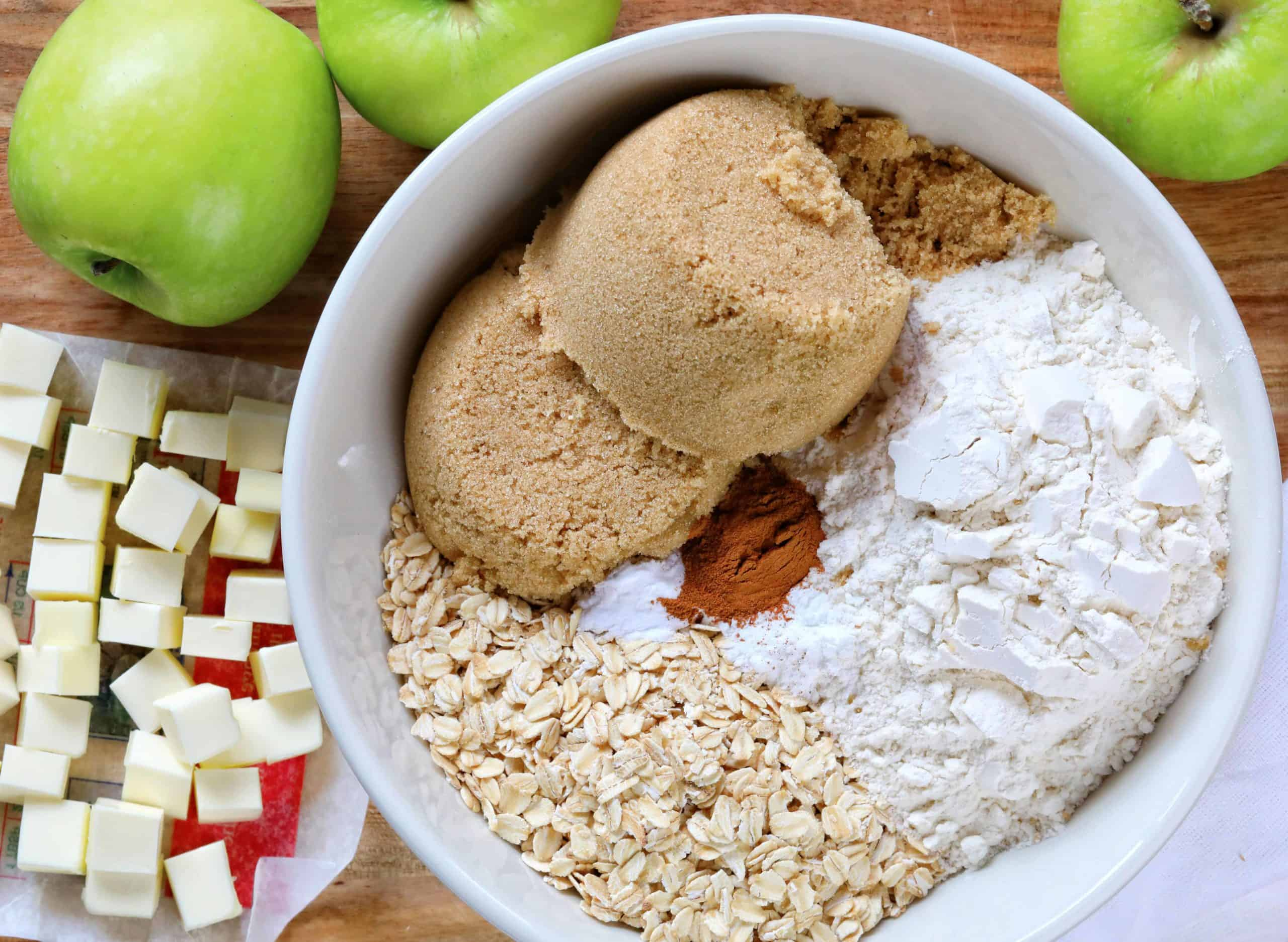 How to Make Apple Crisp, Raw Ingredients in Bowl and on Cutting Board
