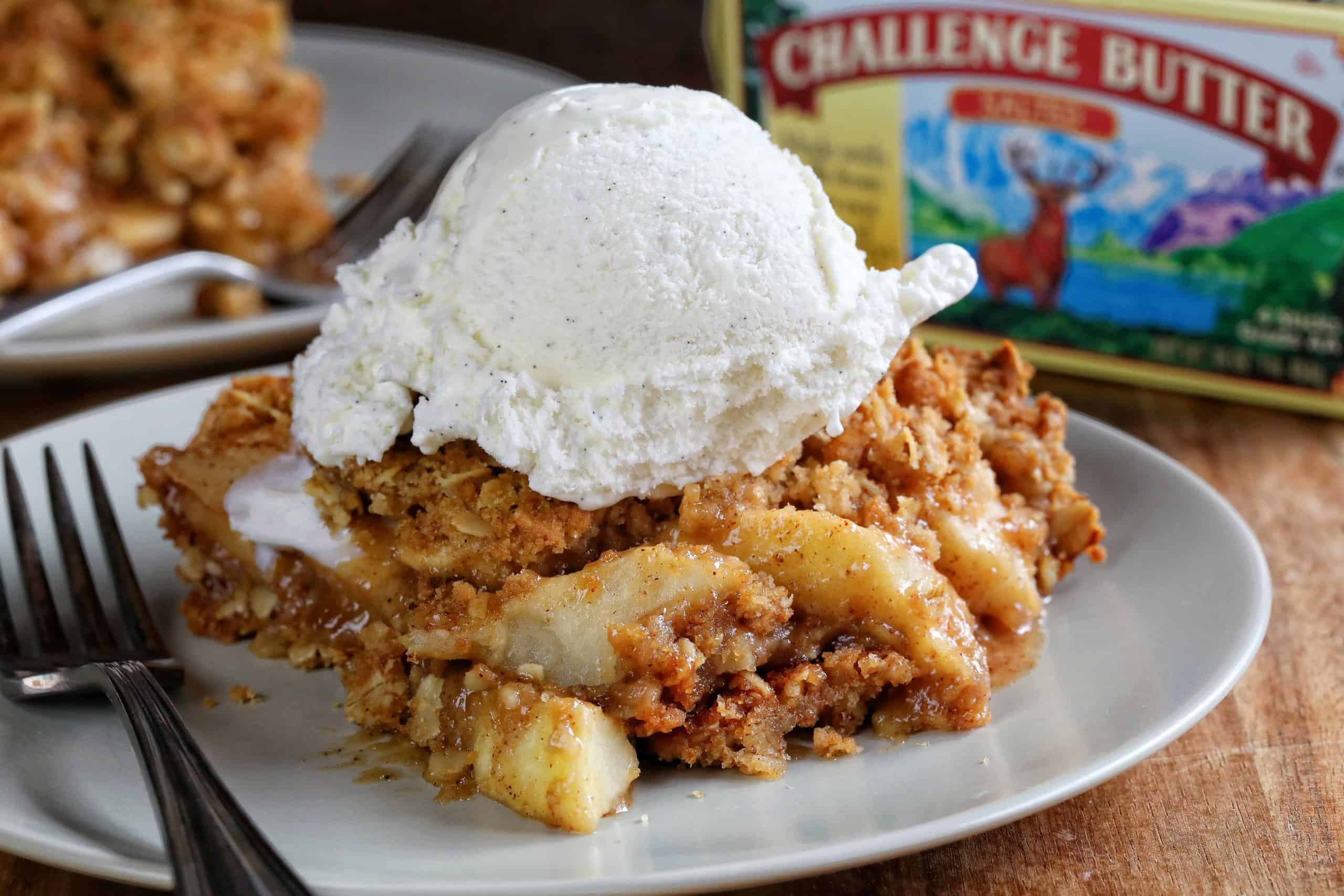 Apple Crisp on a Gray Plate with Fork