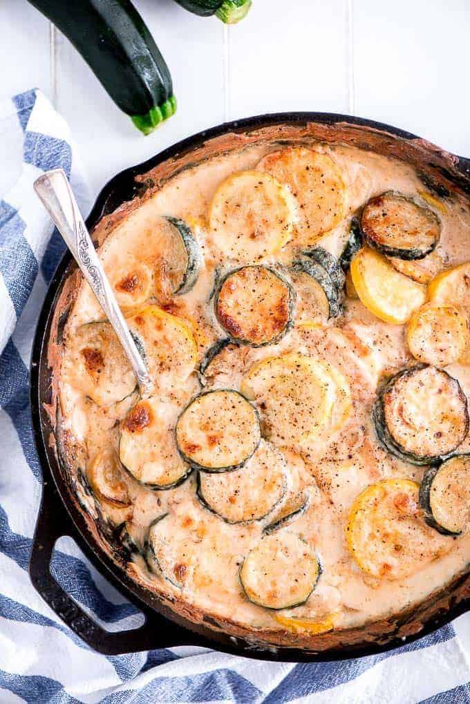 Skillet Cheesy Zucchini