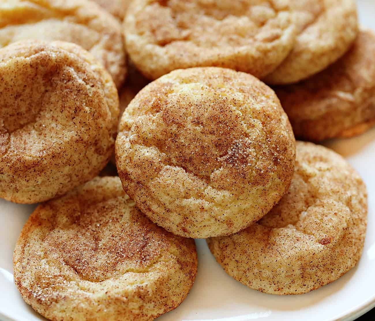 Snickerdoodle Cookies on a White Plate