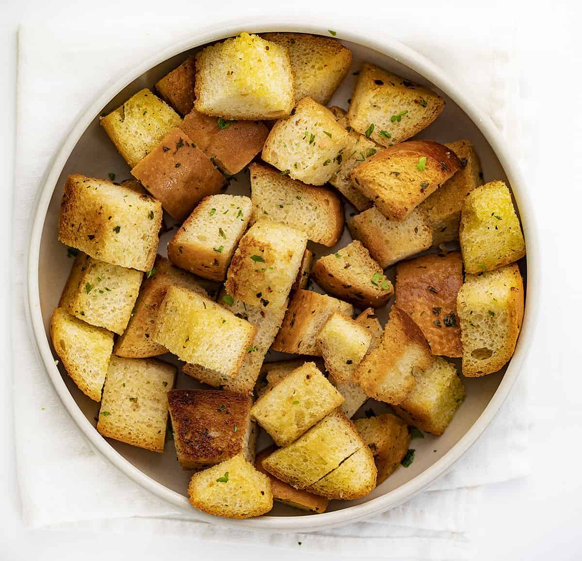 Bowl of The Best Homemade Croutons