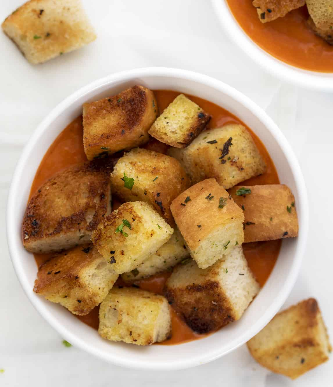 Bowl of Tomato Soup with Homemade Croutons