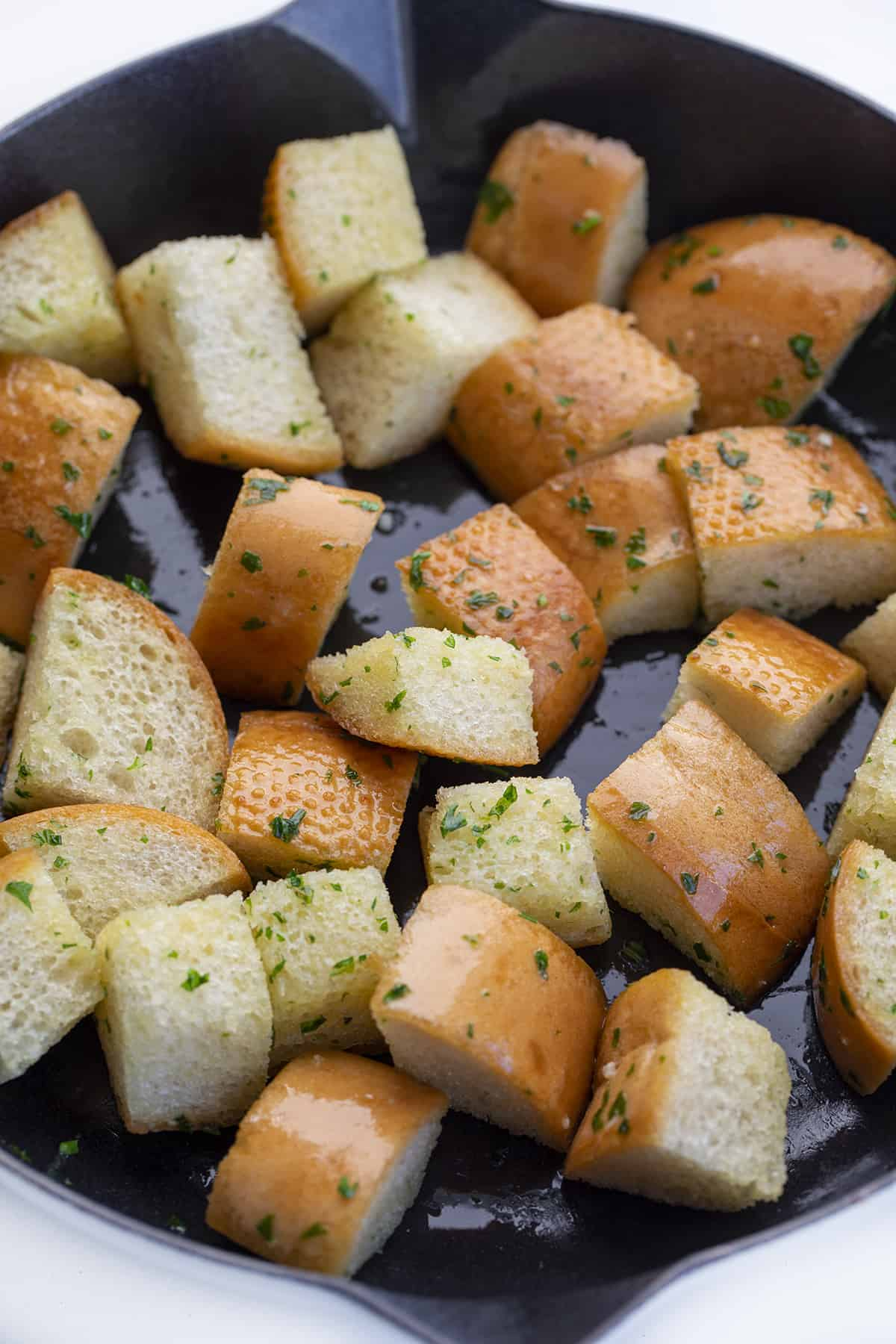Croutons in Skillet