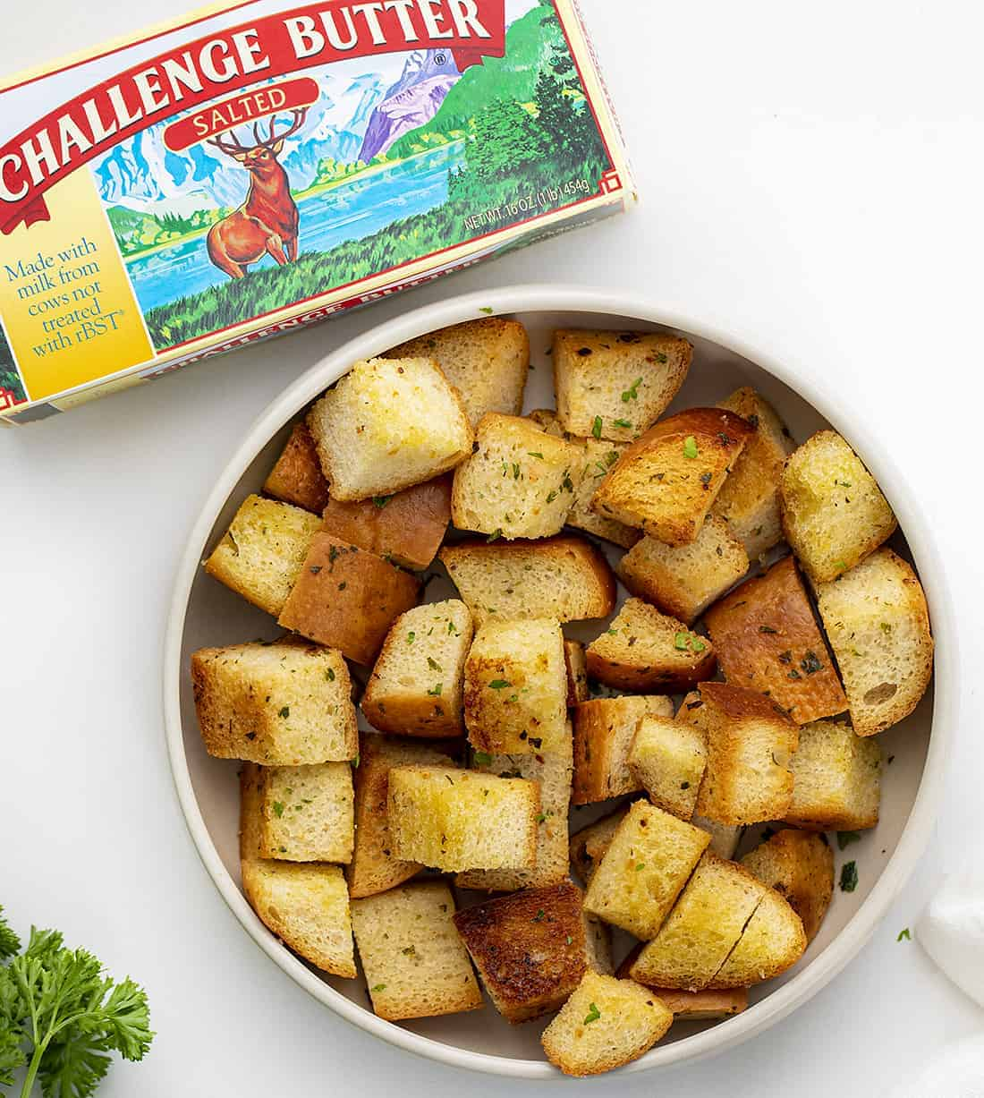 Bowl of Croutons with Challenge Butter