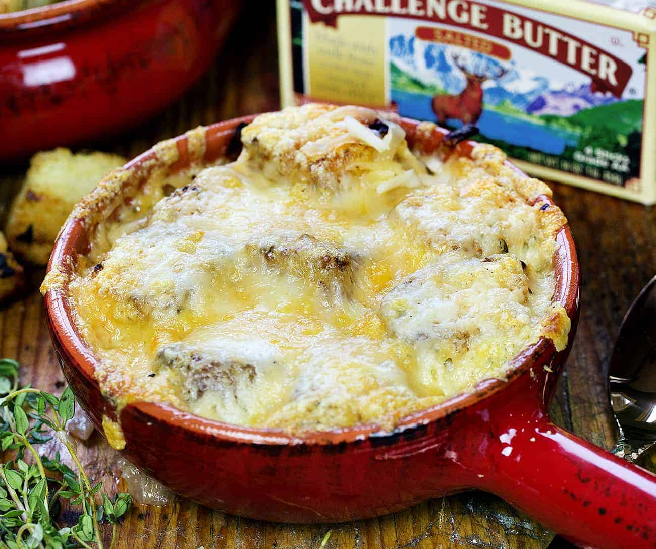 French Onion Soup in Red Crock