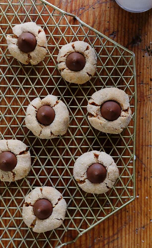 Peanut Butter Blossoms on Cooling Rack