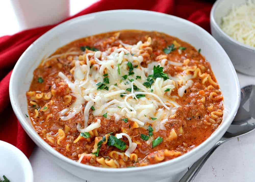 The BEST Lasagna Soup Recipe in a white bowl