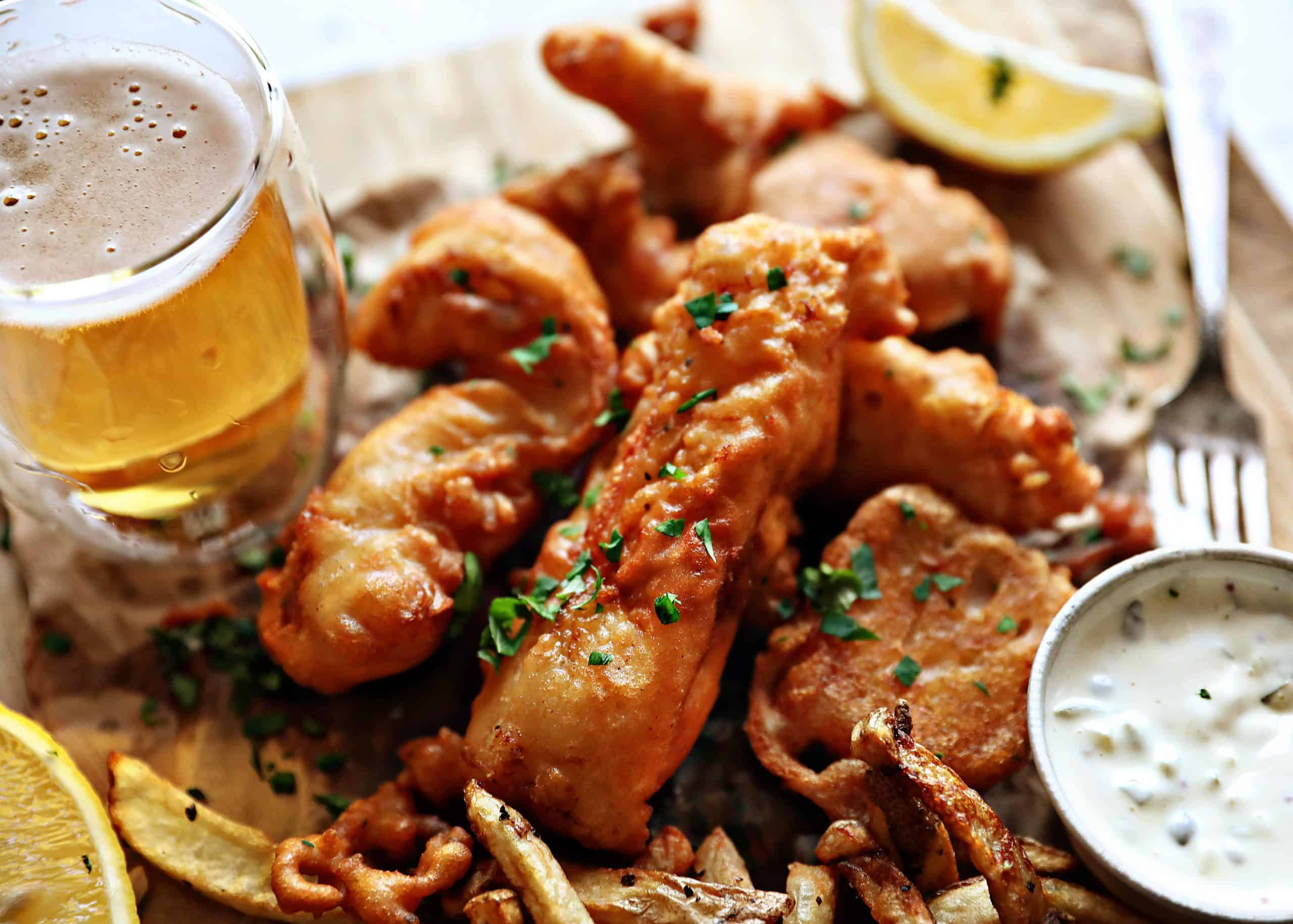 Fish and Chips with Homemade Tartar Sauce
