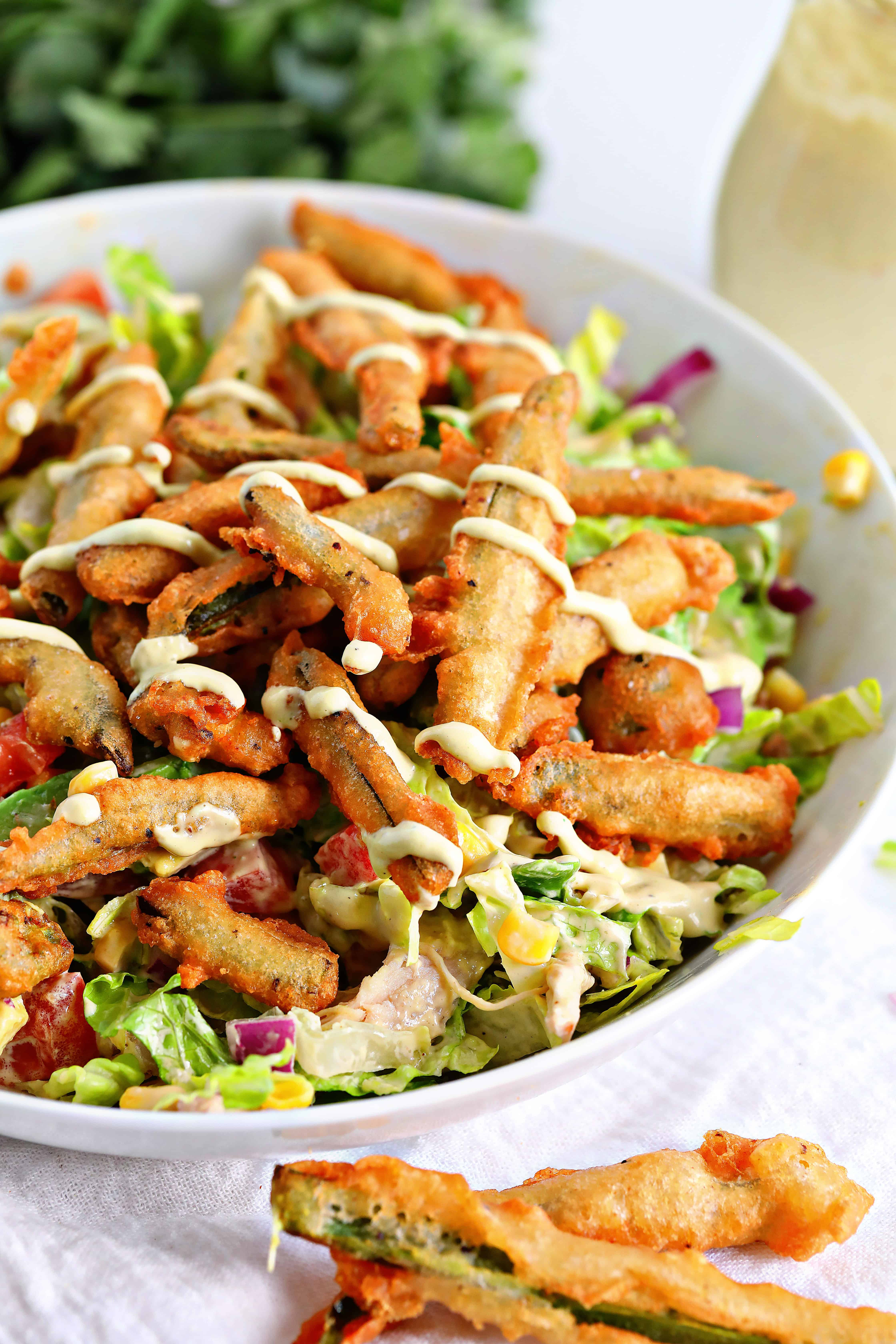 Chicken Salad with Crispy Fried Jalapenos