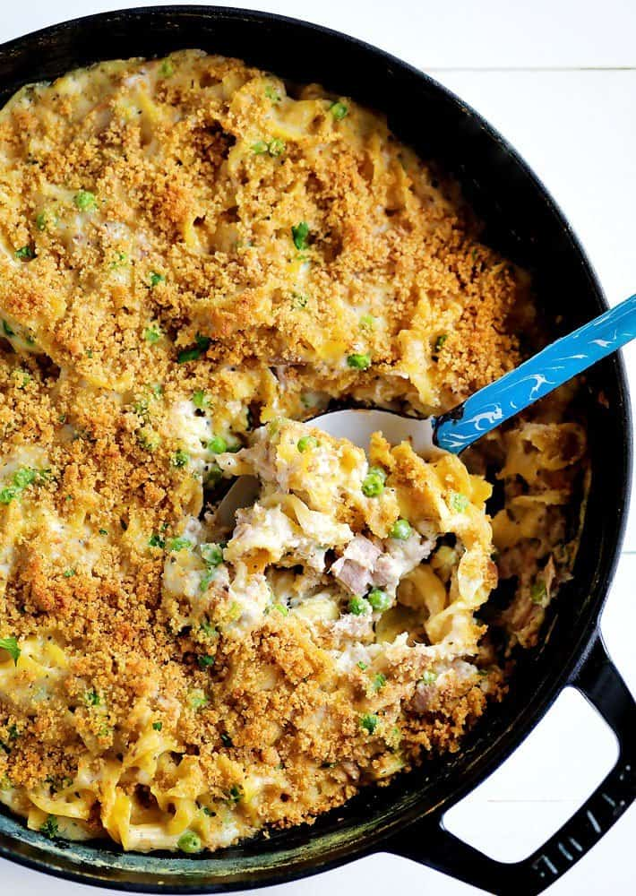 Noodle Tuna Casserole Baked in a SKillet with Spoon