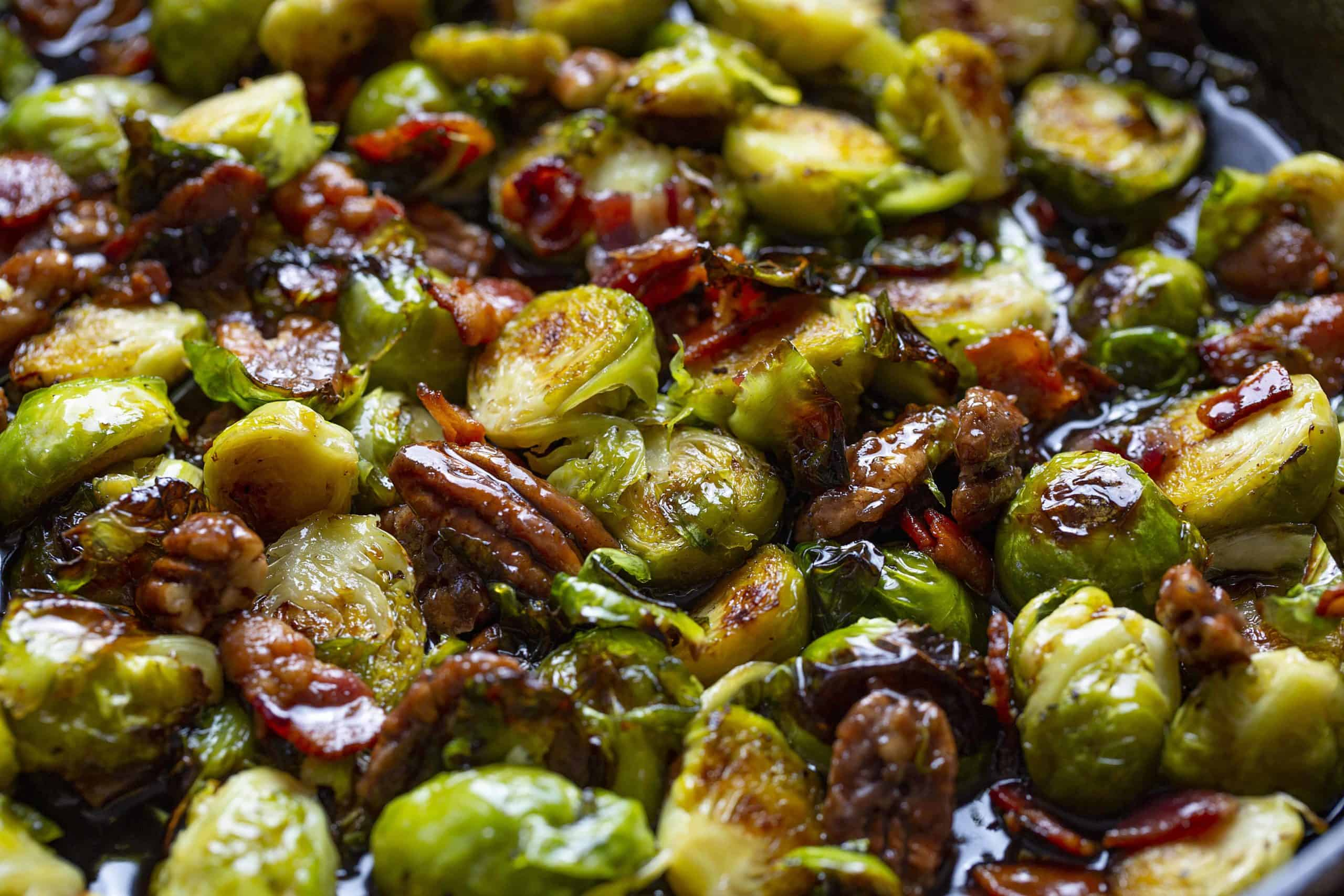 Brussel Sprouts with Bacon, Pecan, and a Maple Syrup Bourbon Glaze