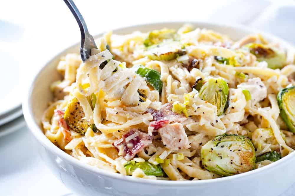 Chicken Alfredo with Bacon and Brussel Sprouts