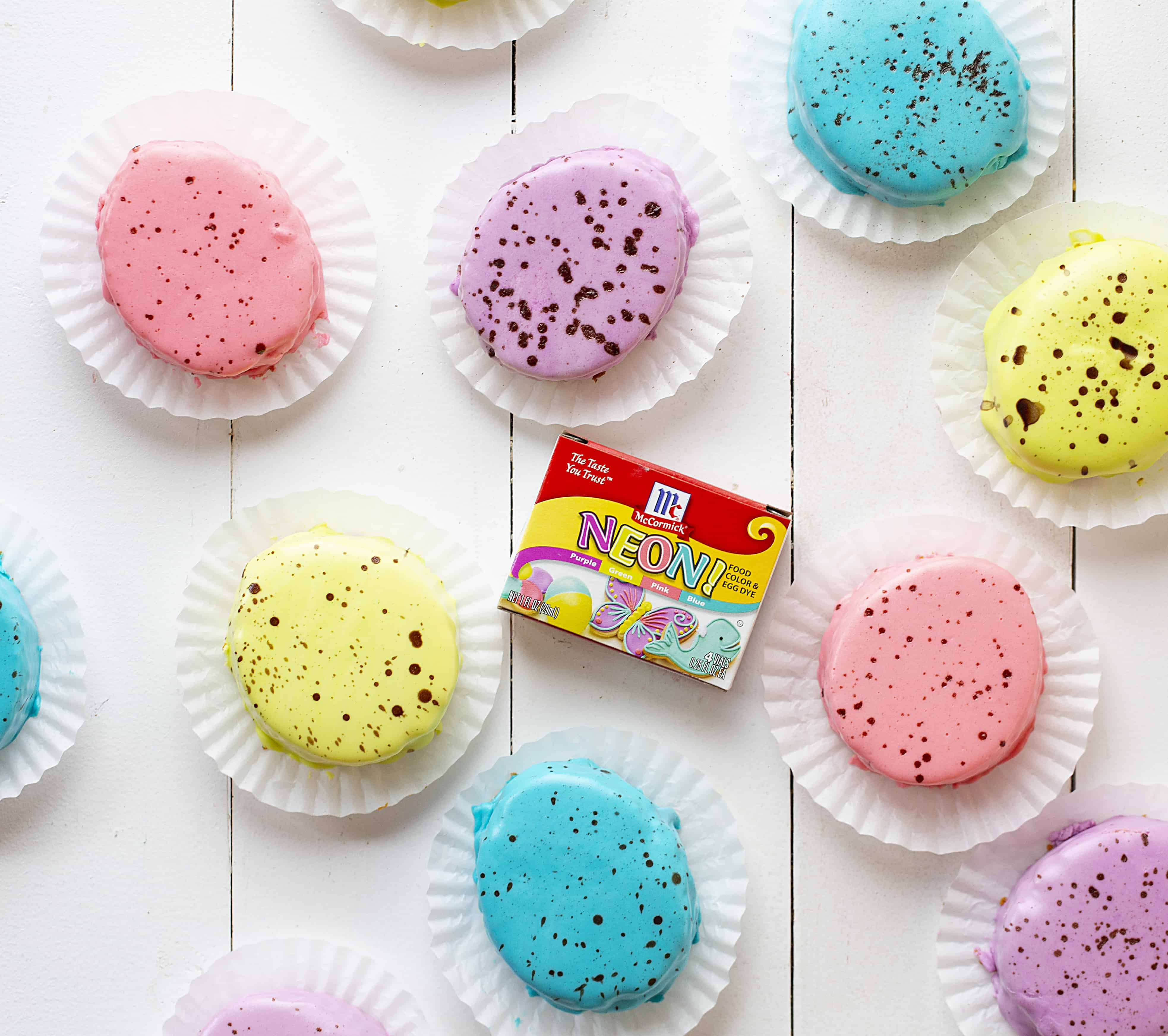 Variety of colors of Easter Egg Cakes