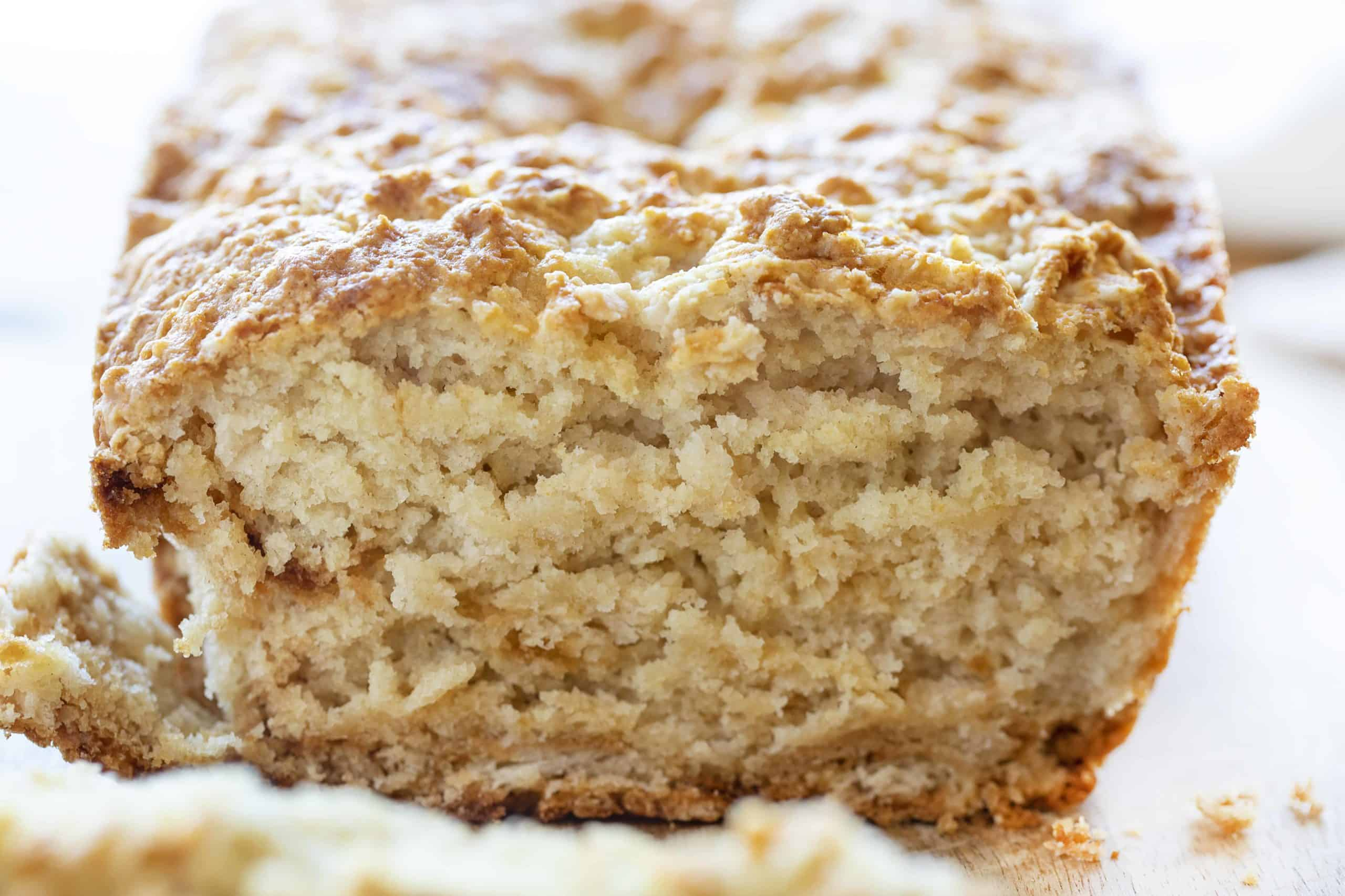 Old Fashioned Buttermilk Quick Bread Cut Into Showing Texture Inside