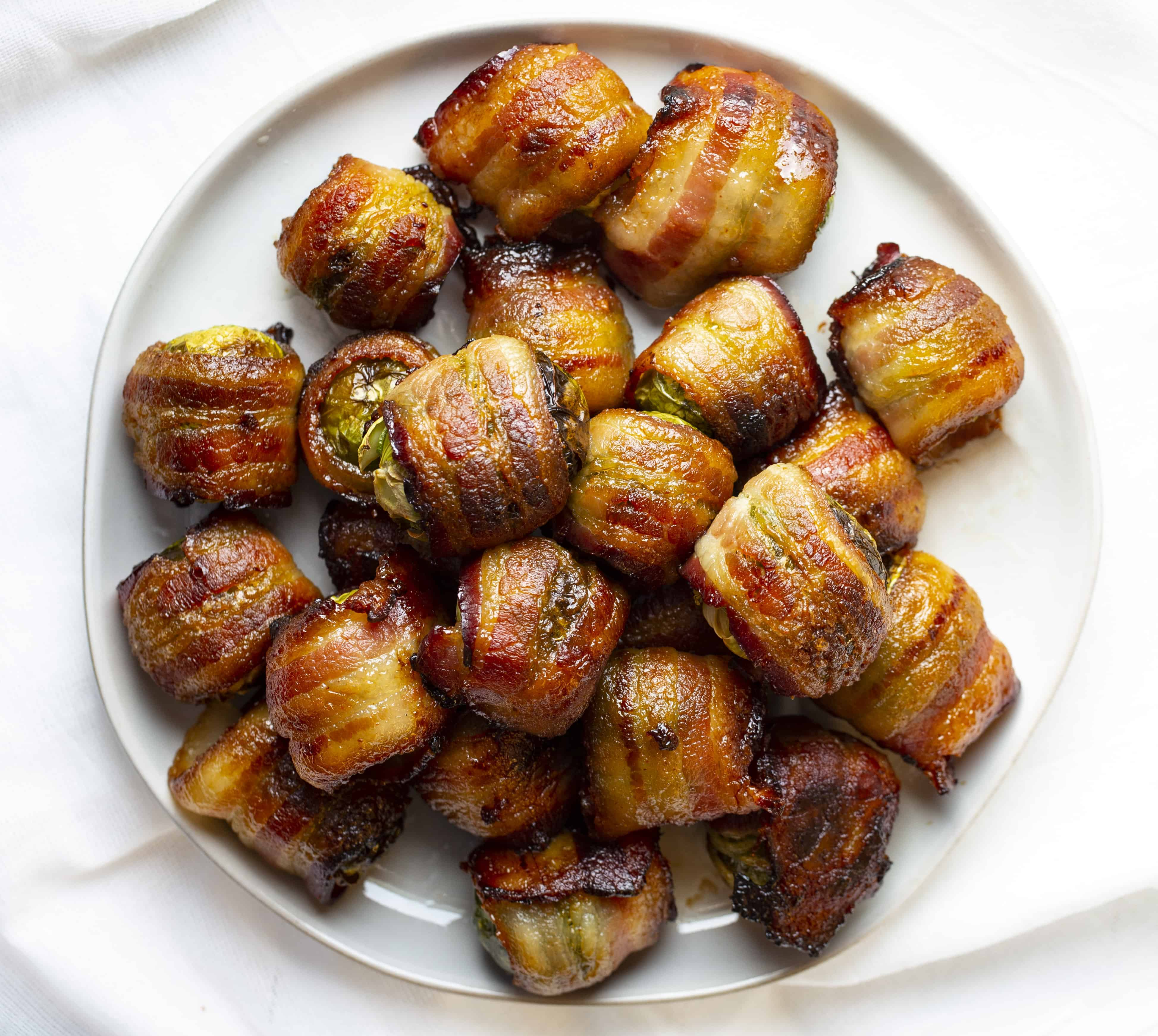 Bacon Wrapped Brussel Sprouts on a Plate