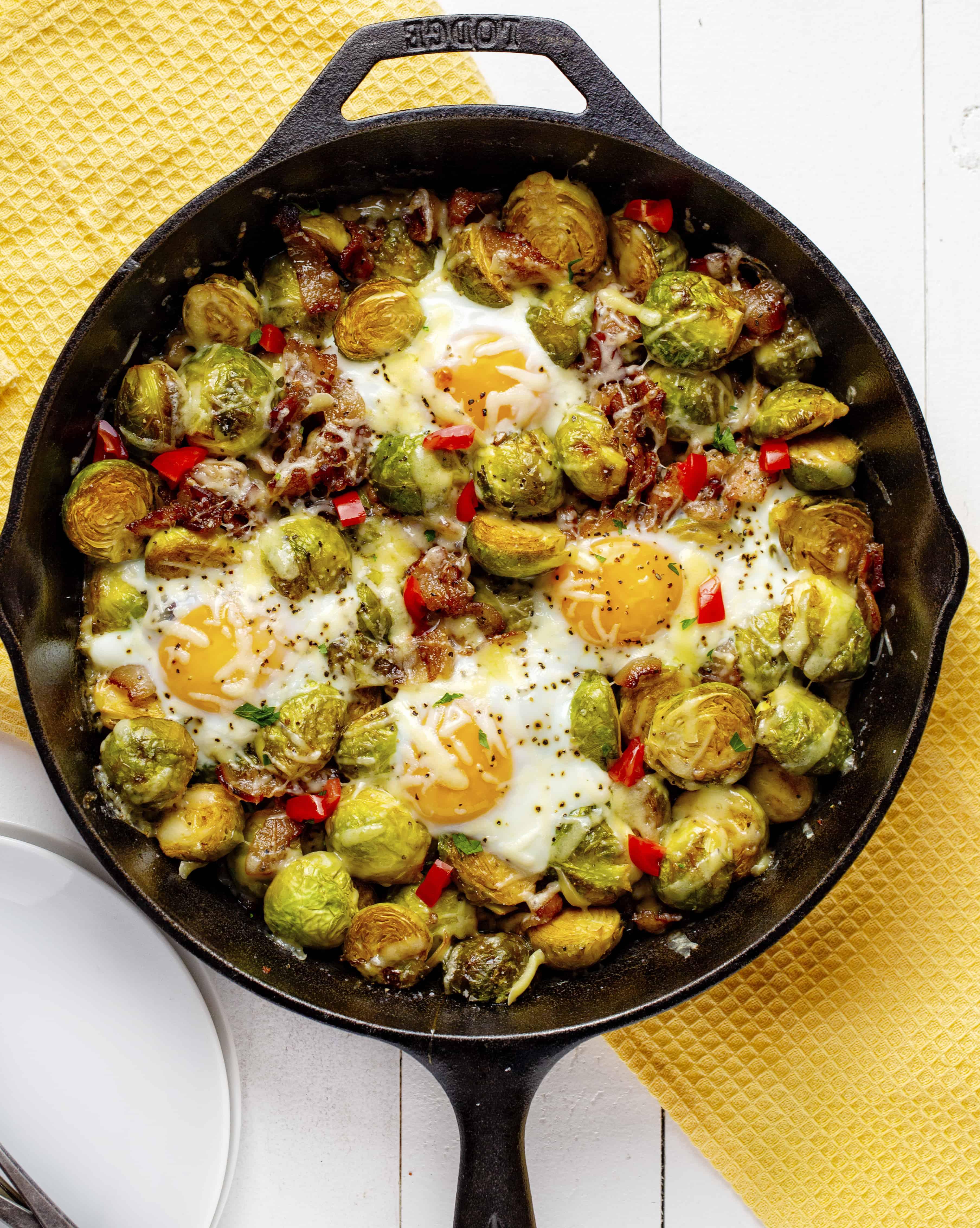 Skillet Brussel Sprout Breakfast Bake!