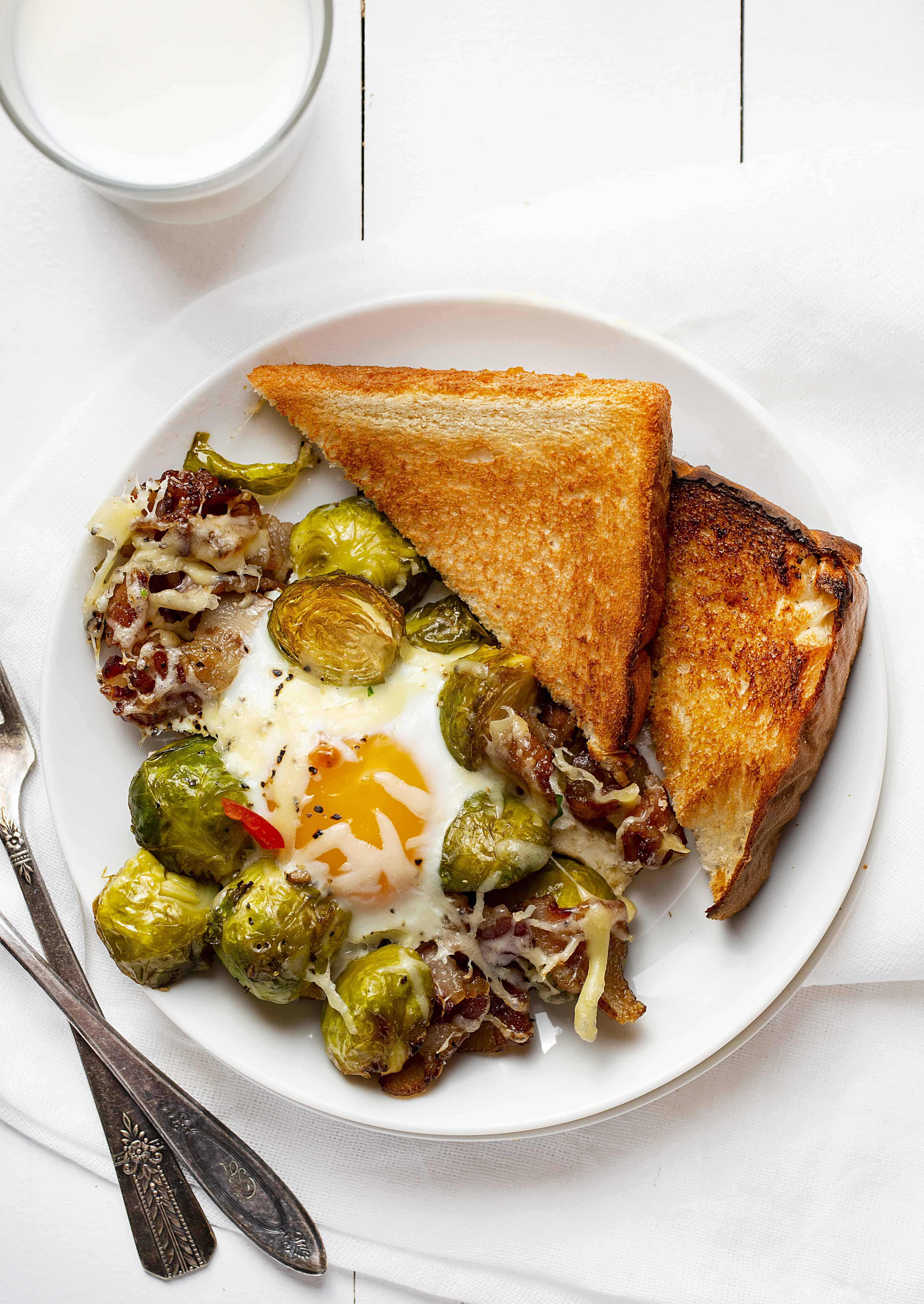 Breakfast Brussel Sprouts with Bacon and Eggs