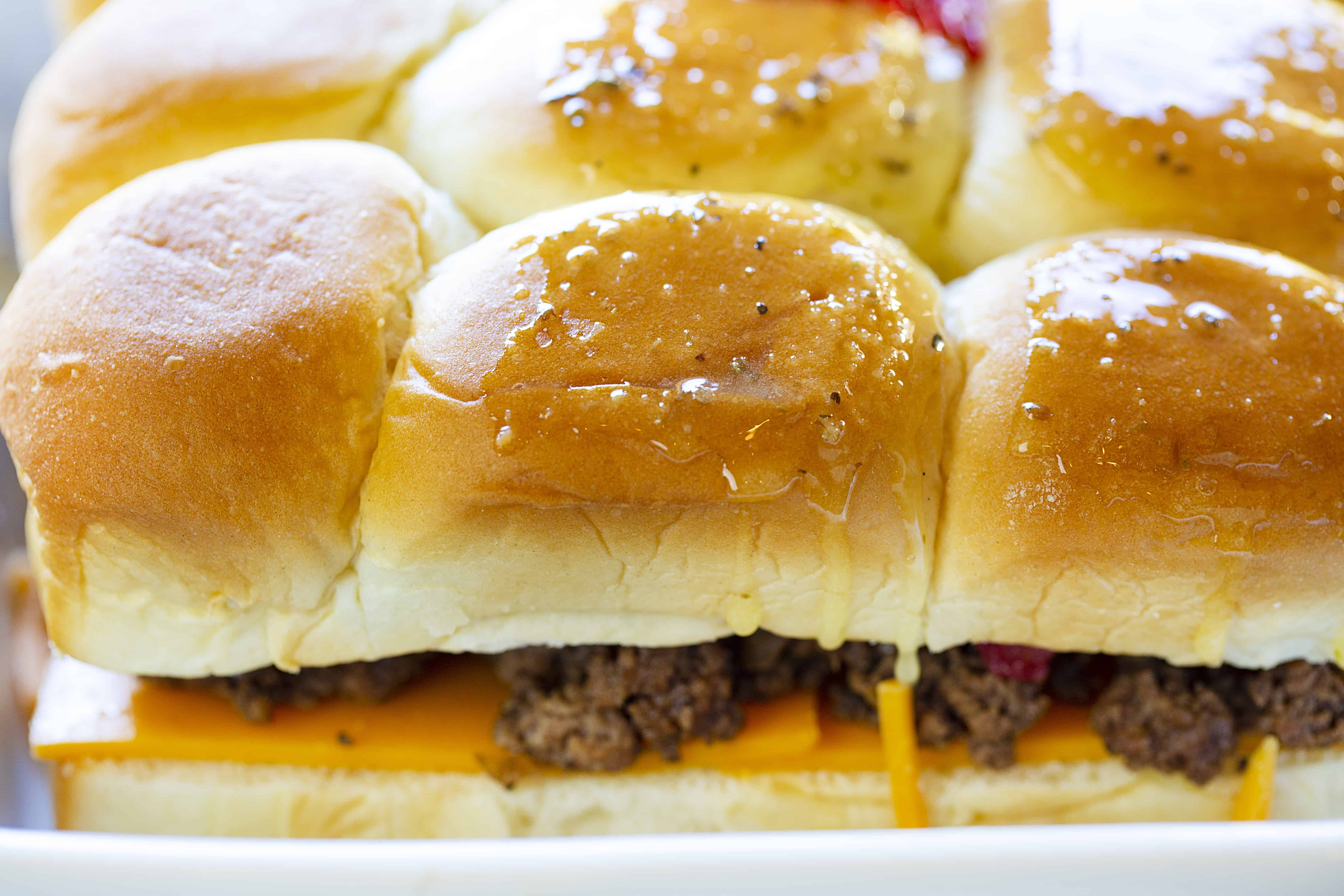 Buttered tops of Cheeseburger Sliders