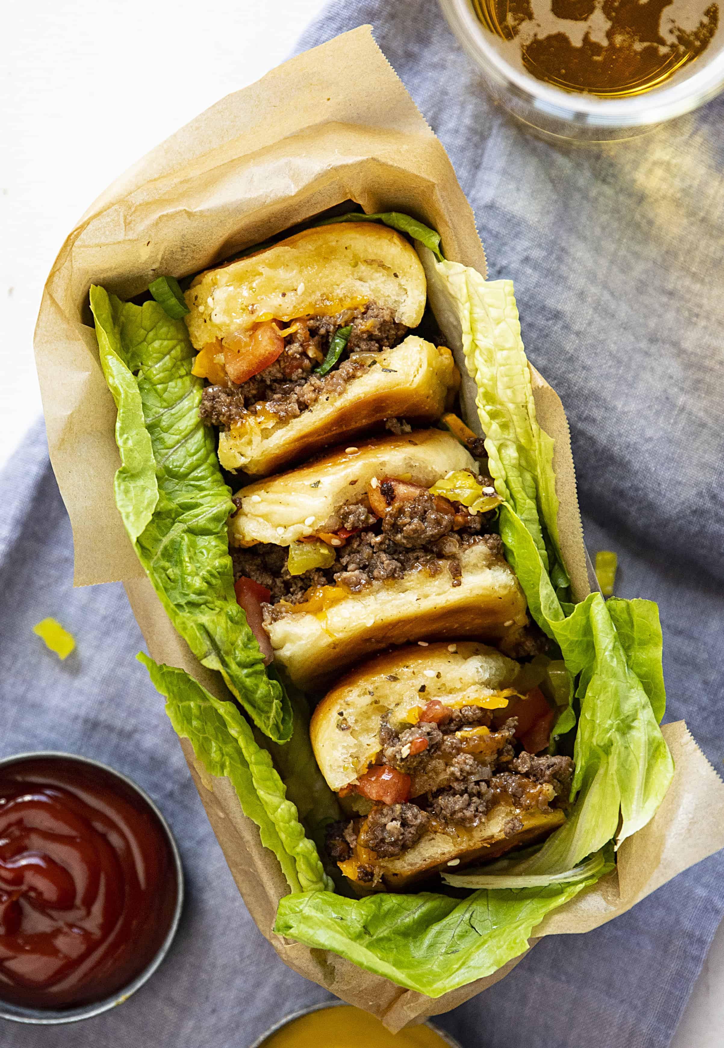Cheeseburger sliders in a basket