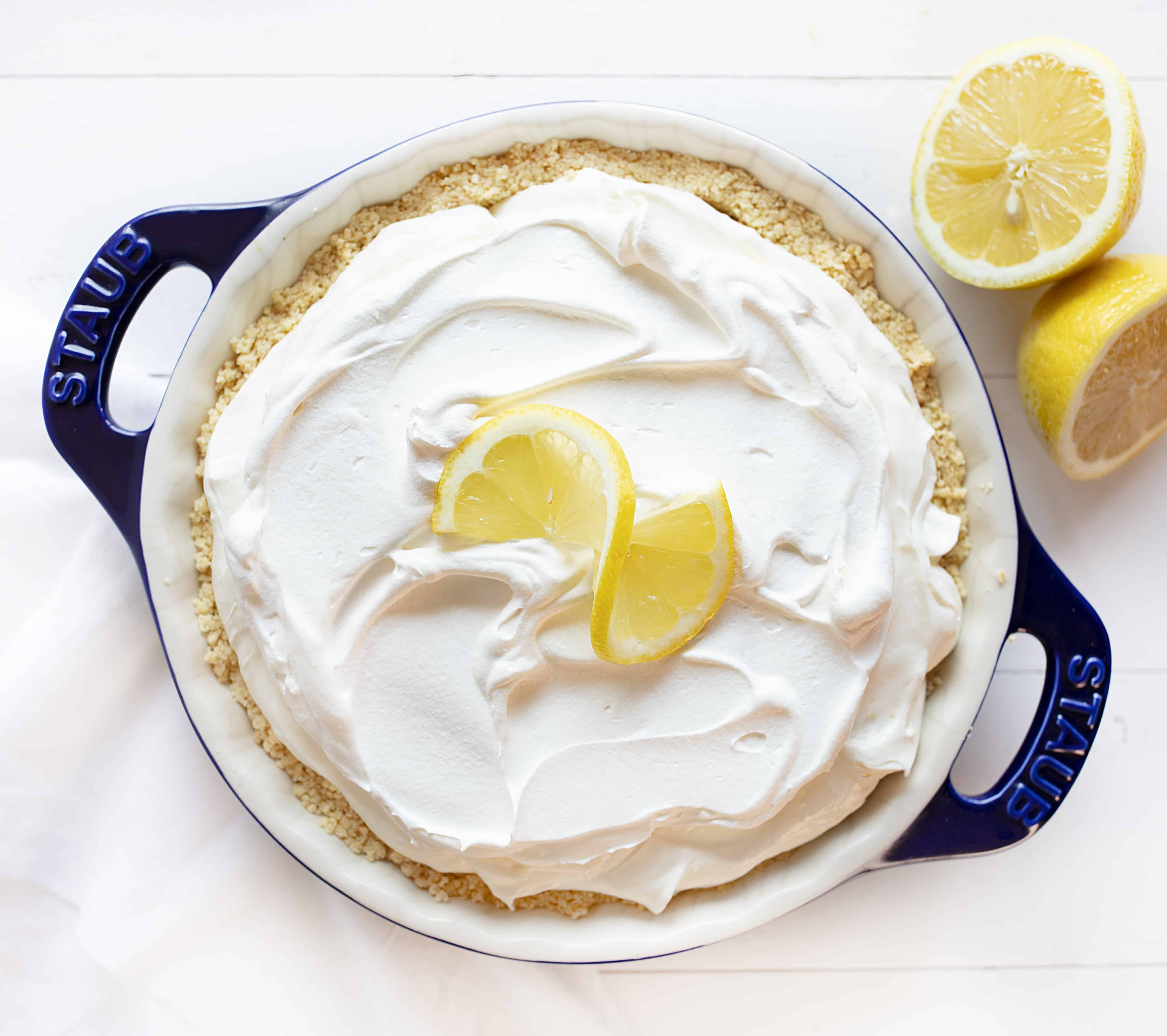No Bake Lemon Cheesecake Cream Pie