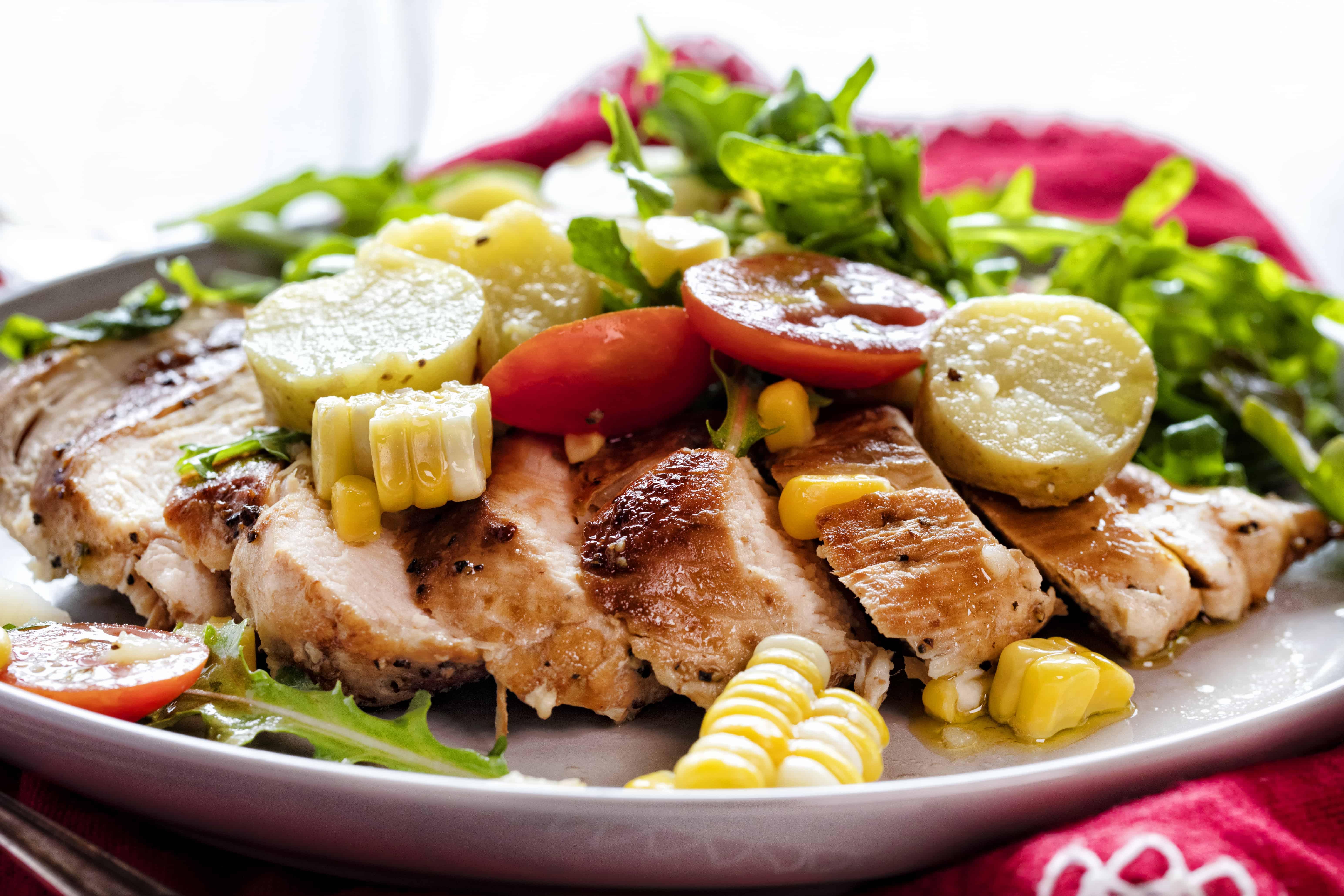 Easy Chicken Summer Salad Serve with Chicken