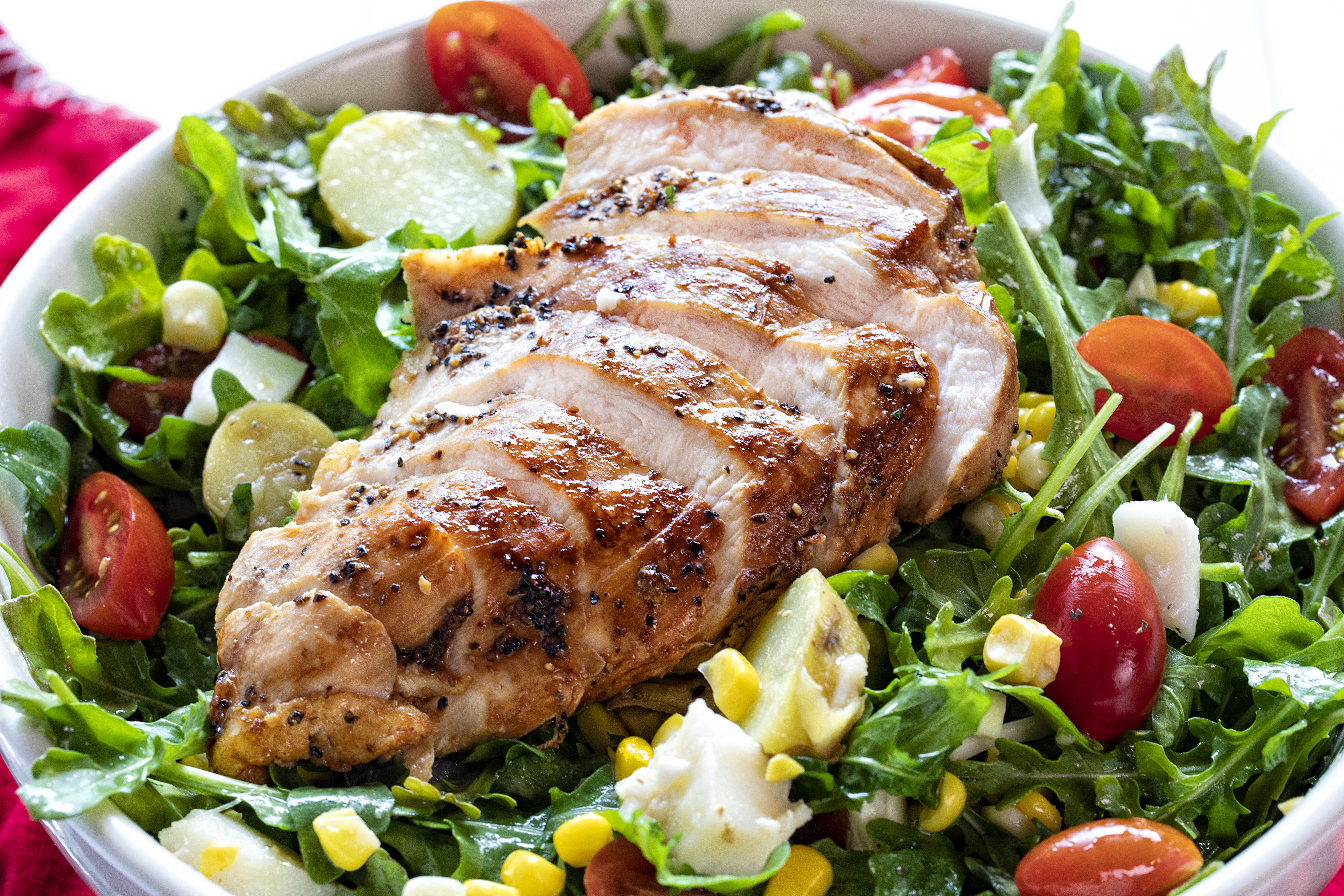 Summer Chicken Salad in a White Bowl