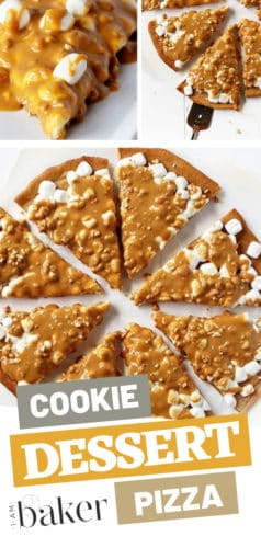 This peanut butter overload is an easy dessert to impress everyone. Soft chewy pan Peanut Butter Cookie dessert pizza with peanut butter cookie crust and peanut butter sauce! Go try this simple recipe that will give you surprising flavors!