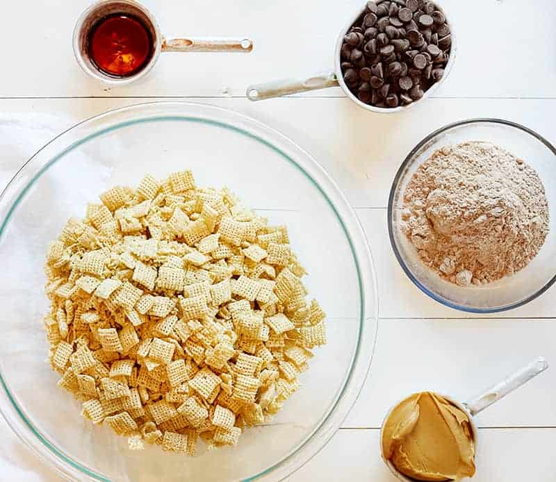 ingredients for Brownie Puppy Chow
