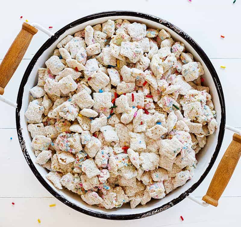 Birthday Cake Puppy Chow in a Bowl