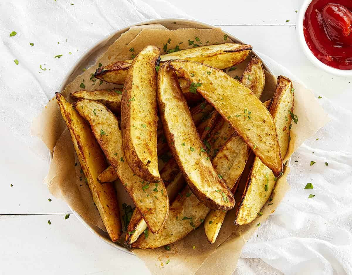 Overhead view of Roasted Potato Wedges