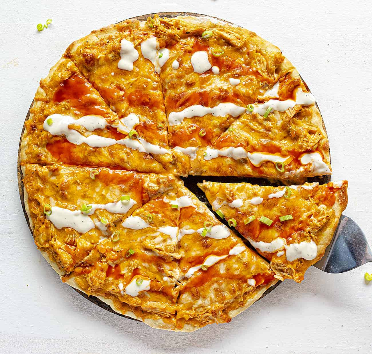 Buffalo Chicken Pizza Overhead