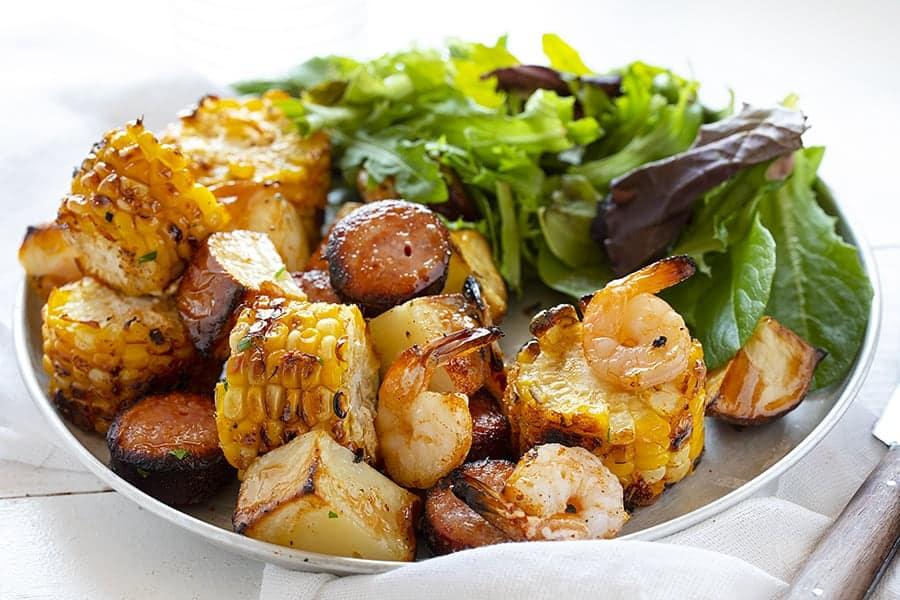 Plate of Ingredients from a Cajun Kebab