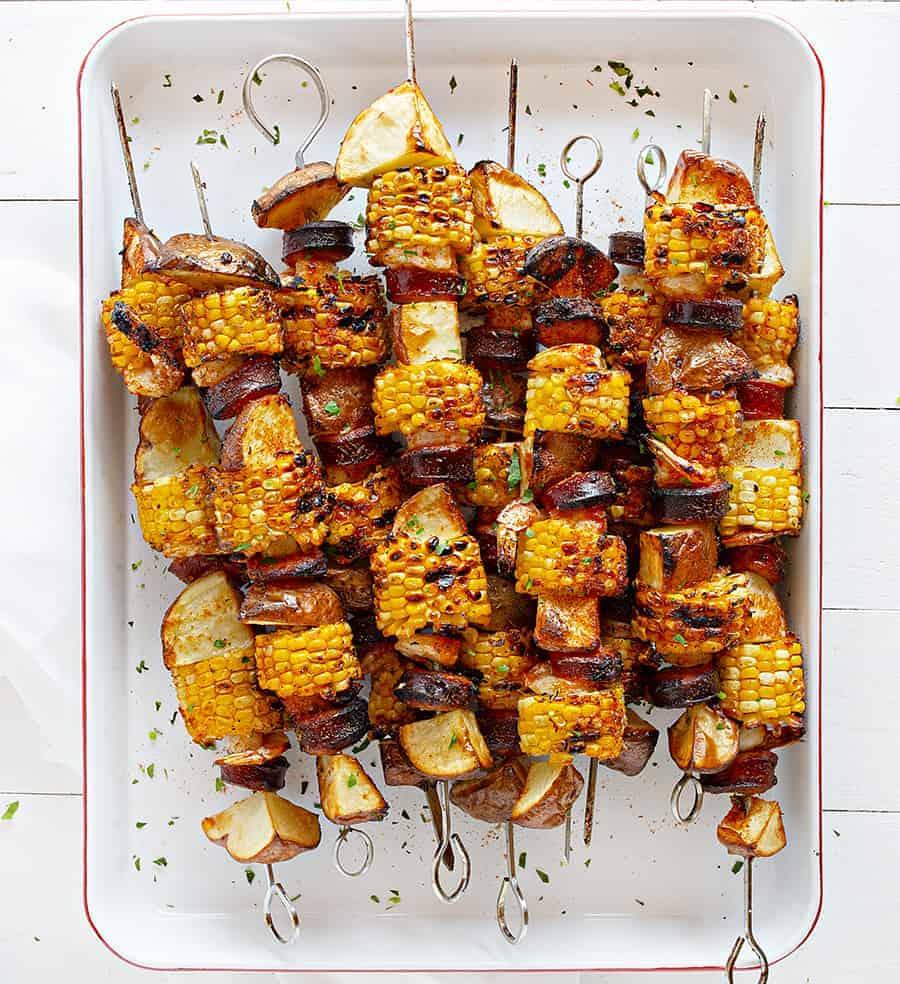 Cajun Shrimp and Sausage Skewers with Corn and Potatoes