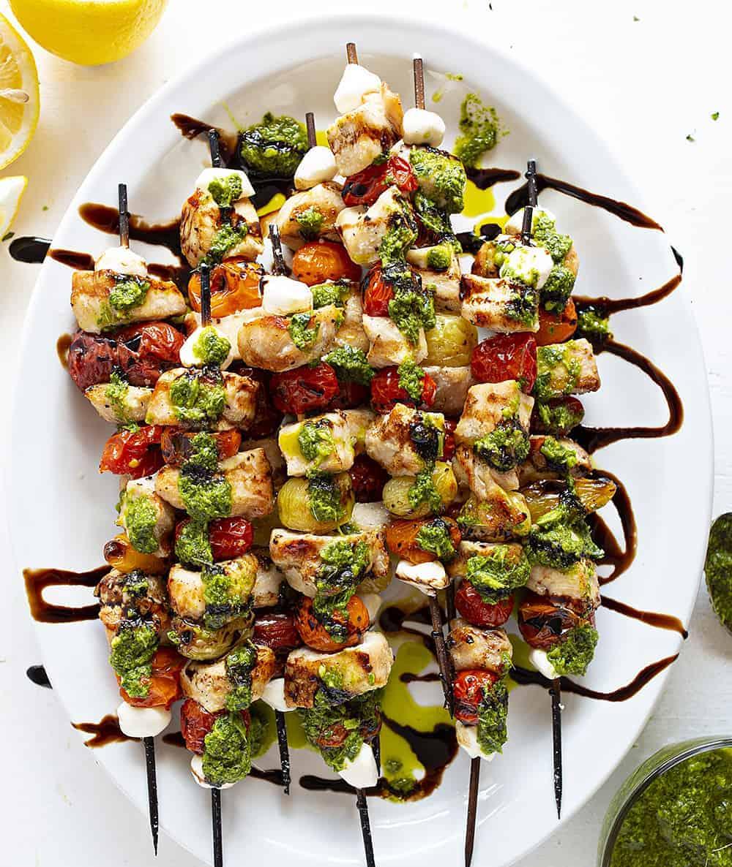 Chicken Caprese Kebabs on a Platter
