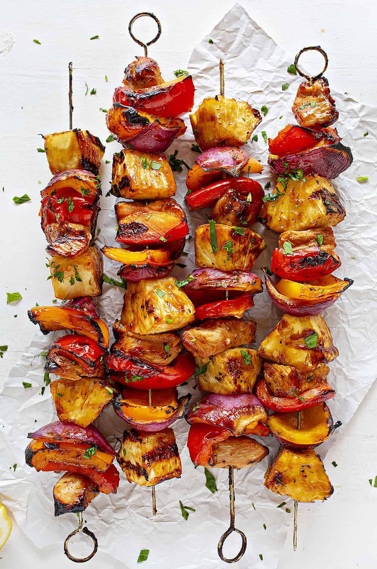 Hawaiian Chicken Kebabs on Skewers