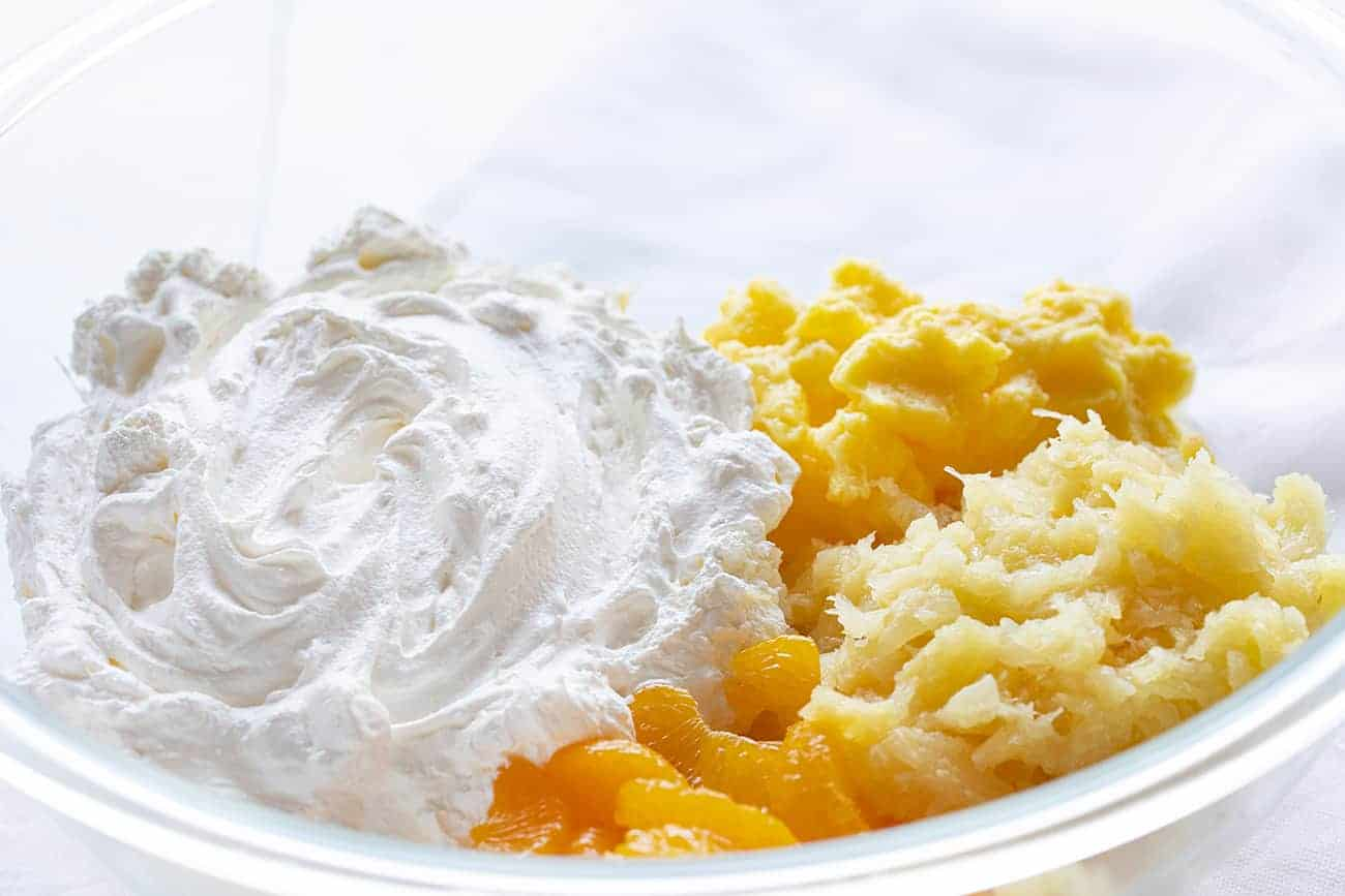 Cookie Salad Ingredients- Mandarin Oranges, Pudding, Pineapple, Whipped Topping