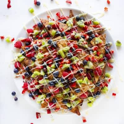 Fruit Nachos with Cream Cheese Glaze